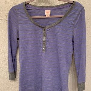 Striped Henley with 3/4 Sleeves